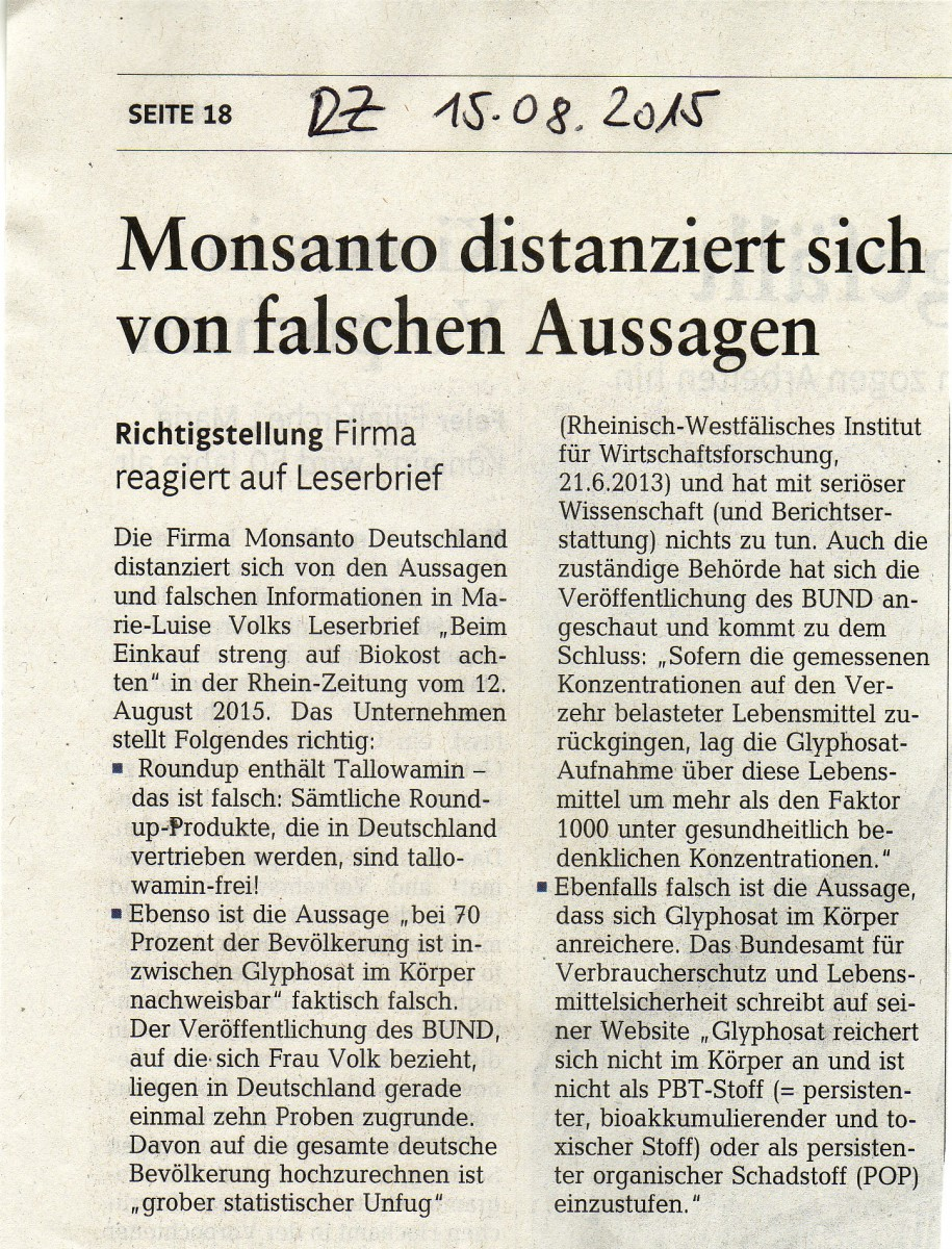 Monsanto distanziert sich 15082015