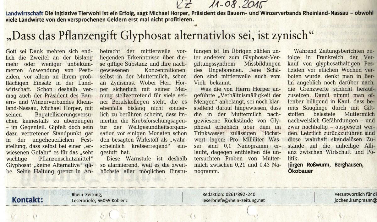 Pflanzengift Glyphosat