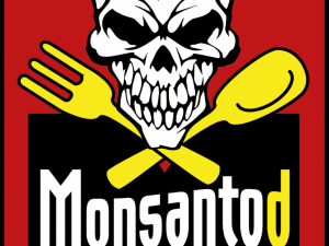 Monsantod Logo  Gift Gentech Schaedel Loeffel Gabel Tod